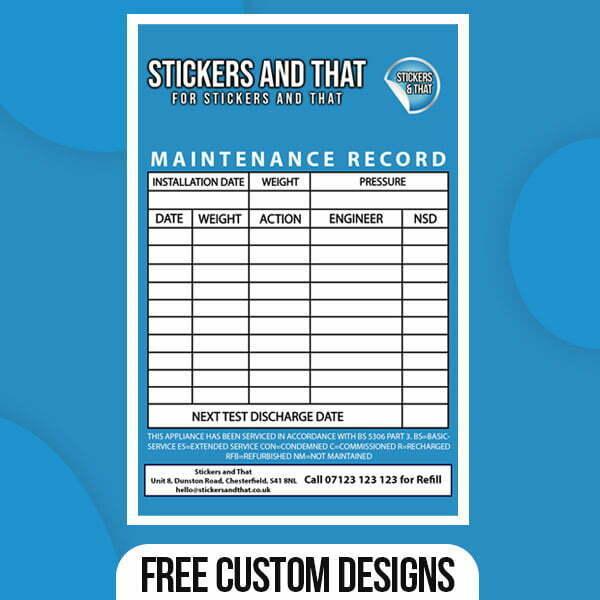 Fire Maintenance Stickers
