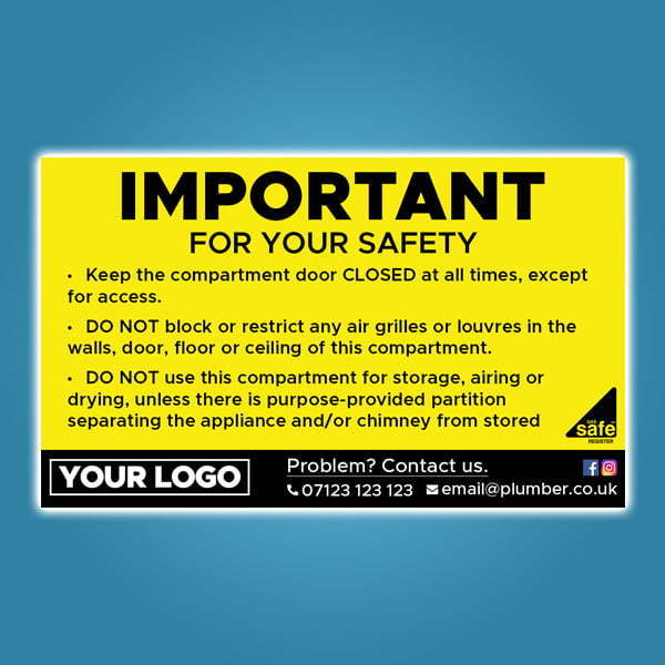 Compartment or Ventilation Safety Sticker Branded