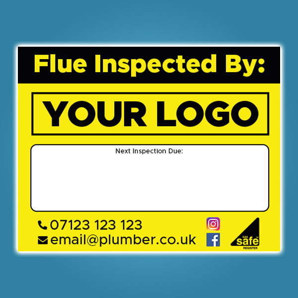 Flue Inspection Stickers with Company Details